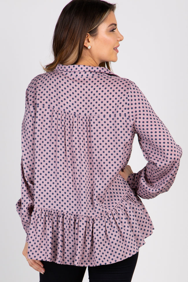Mauve Polka Dot Tie Collared Neck Blouse