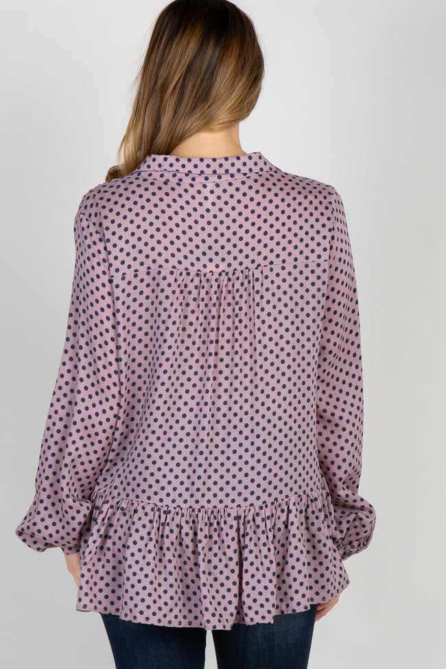 Mauve Polka Dot Tie Collared Neck Maternity Blouse