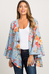 Light Blue Floral Bell Sleeve Cover Up