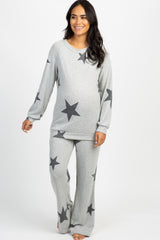 Black Star Printed Soft Knit Maternity Pajama Set