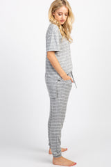 PinkBlush Heather Grey Striped Pocket Front Maternity Pajama Set