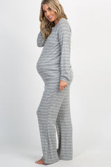 Heather Grey Striped Soft Long Sleeve Maternity Pajama Set
