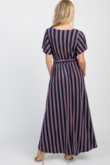 Navy Multi-Color Striped Hi-Low Hem Midi Dress