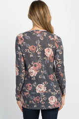 Navy Floral Ruffle Hem Long Sleeve Maternity Top