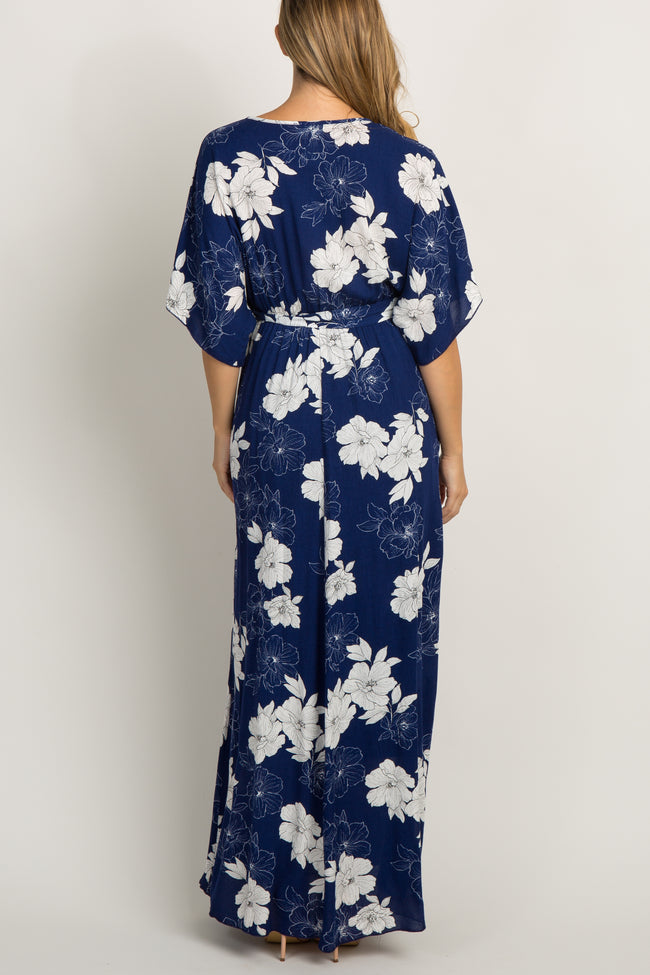 Blue Floral V-Neck Maternity Maxi Dress