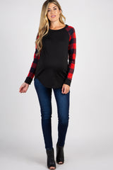 PinkBlush Red Solid Long Plaid Sleeve Maternity Top