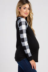 PinkBlush Black White Solid Long Plaid Sleeve Top