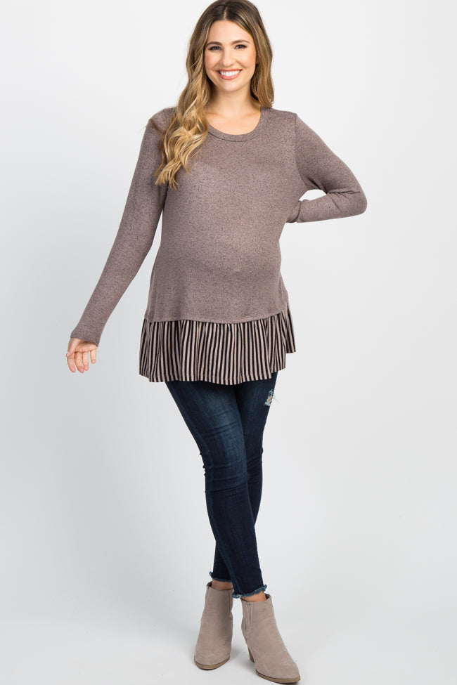 Mocha Striped Ruffle Hem Maternity Top