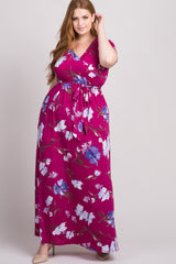 Magenta Floral Wrap Plus Maxi Dress