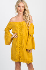 Marigold Off Shoulder Bell Sleeve Crochet Accent Dress