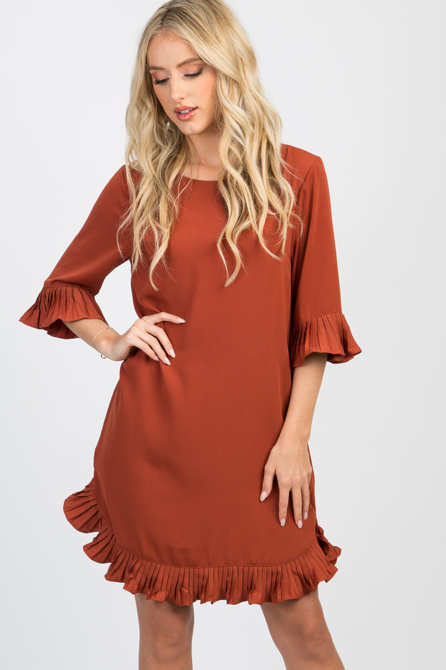 Rust Pleated Ruffle Trim Shift Dress