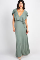 Green Ruffle Overlay Maxi Dress