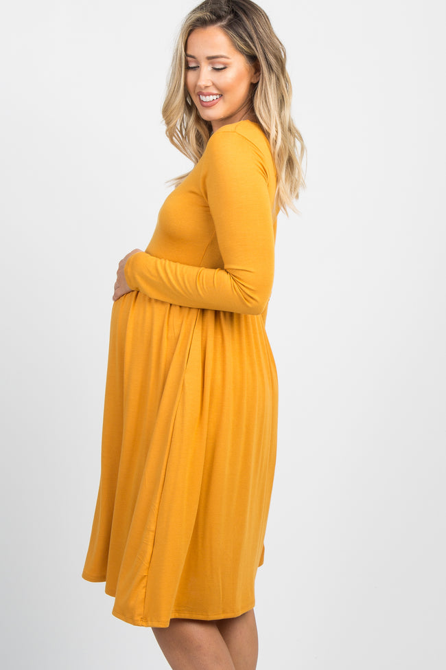 Yellow Solid Long Sleeve Maternity Dress