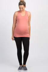 Pink Fitted Maternity Tank Top