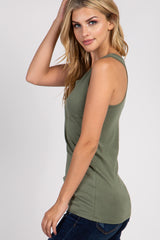Light Olive Fitted Maternity Tank Top