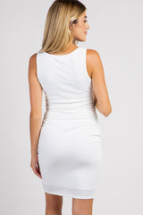 PinkBlush Tall Ivory Sleeveless Ribbed Fitted Maternity Dress