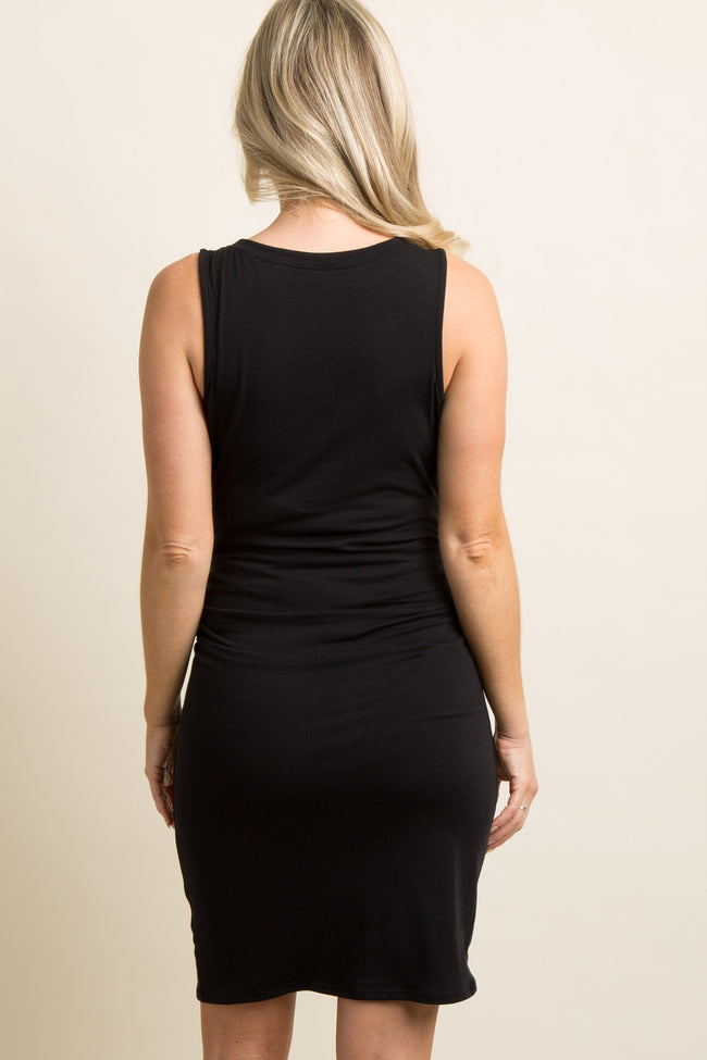 PinkBlush Tall Black Sleeveless Ruched Fitted Maternity Dress