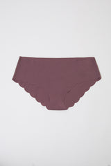 Mauve Solid Scalloped Seamless Underwear