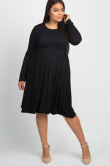 Black Solid Long Sleeve Plus Maternity Dress