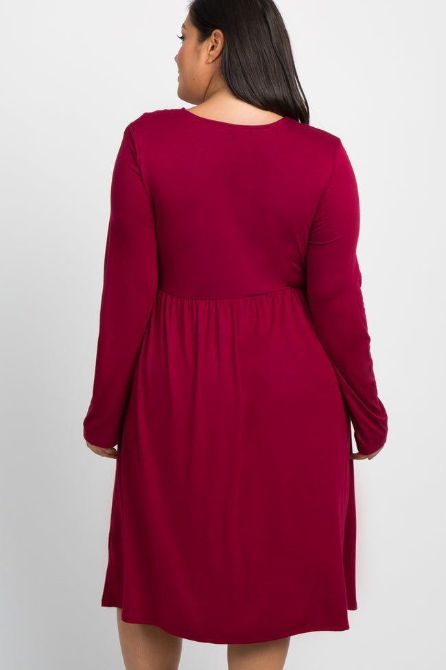 Burgundy Solid Long Sleeve Plus Maternity Dress