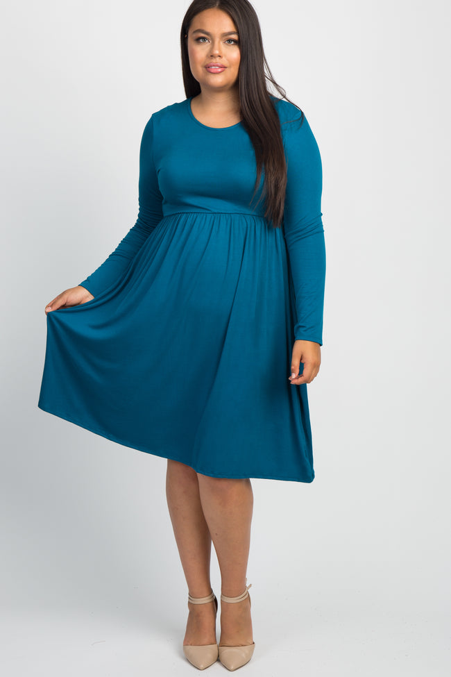 Teal Solid Long Sleeve Plus Dress