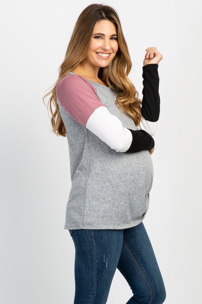 Heather Grey Colorblock Long Sleeve Knotted Hem Maternity Top