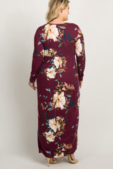 Burgundy Floral Front Twist Long Sleeve Plus Maternity Maxi Dress