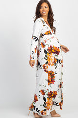 Ivory Floral Front Twist Long Sleeve Maternity Maxi Dress