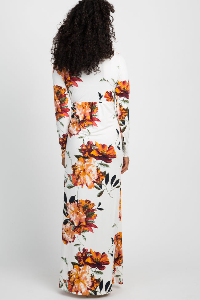 Ivory Floral Front Twist Long Sleeve Maxi Dress