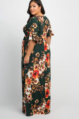 Green Floral 3/4 Ruffle Sleeve Plus Maternity Maxi Dress