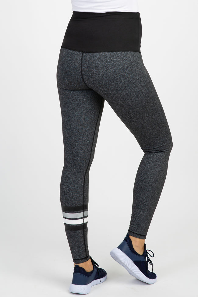 Charcoal Top Stitch Striped Maternity Active Leggings