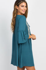 Teal Embroidered Bell Sleeve Shift Dress