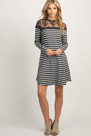 Charcoal Striped Mesh Accent Dress