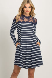 Navy Striped Mesh Accent Dress