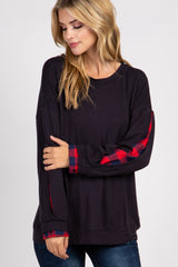 Black Plaid Accent Long Sleeve Top