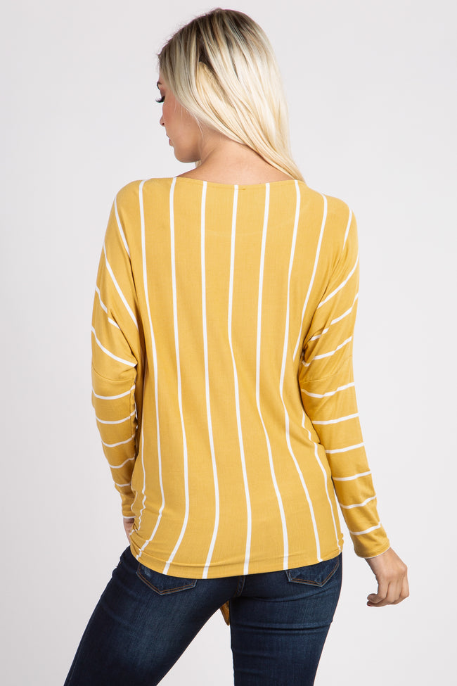 Mustard Striped Tie Front Dolman Sleeve Top