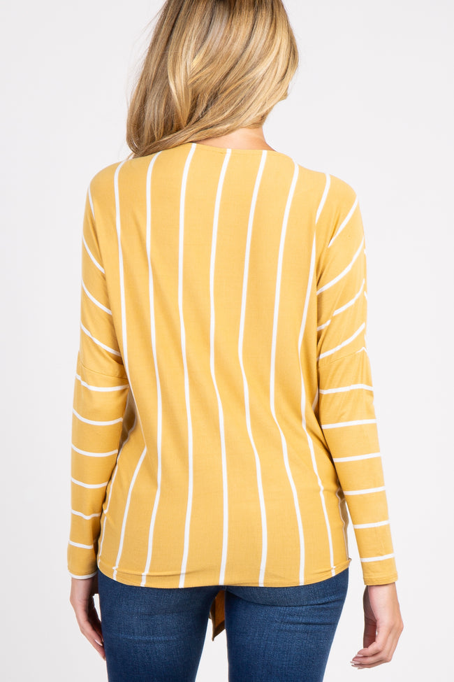 Mustard Striped Tie Front Dolman Sleeve Maternity Top