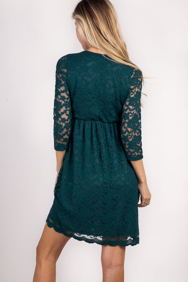Forest Green Lace Overlay Maternity Wrap Dress