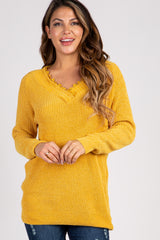 Mustard Crochet Trim Chenille Maternity Sweater