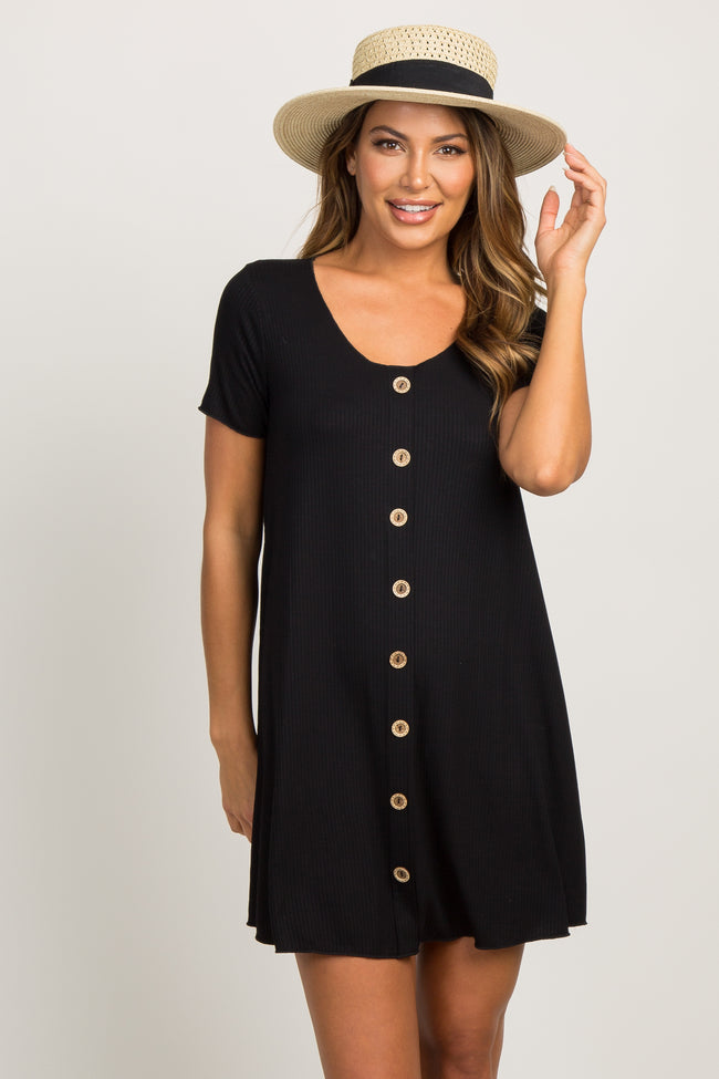 Black Ribbed Button Detail Dress