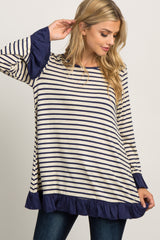 Navy Blue Striped Solid Ruffle Trim Long Sleeve Top