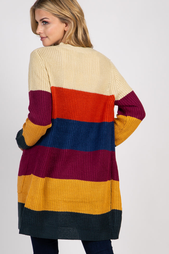Multi Color Striped Pocket Cardigan