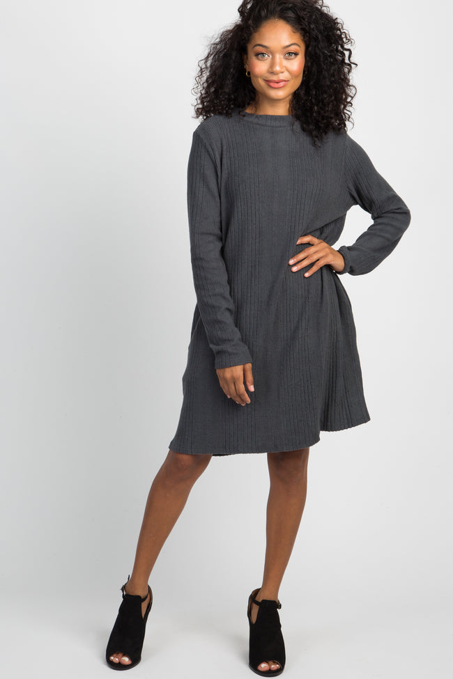 Charcoal Mock Neck Pocket Dress