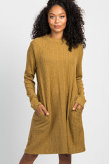 Mustard Yellow Mock Neck Pocket Dress