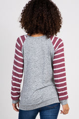 Heather Grey Striped Accent Sleeve Maternity Top