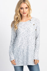Heather Grey Button Accent Long Sleeve Maternity Sweater