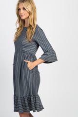 Charcoal Grey Striped Ruffle Trim Dress