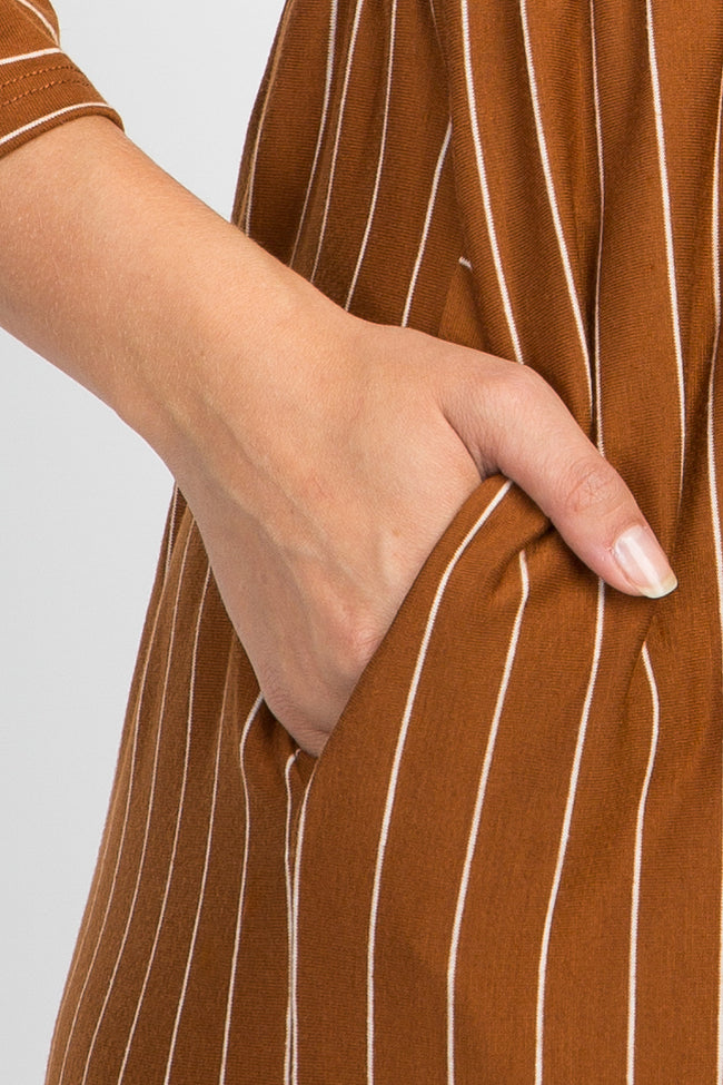 Rust Striped Ruffle Trim Dress