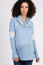 Light Blue Cowl Neck Striped Accent Terry Top
