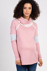 Pink Cowl Neck Striped Accent Terry Maternity Top